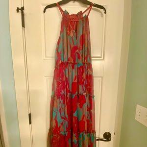 Pink and blue chiffon maxi dress